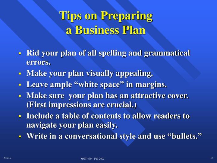 Tips on Preparing