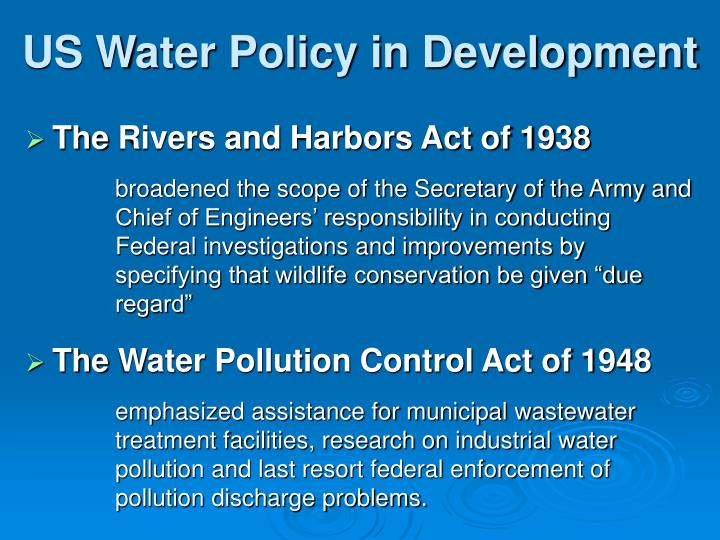 US Water Policy in Development
