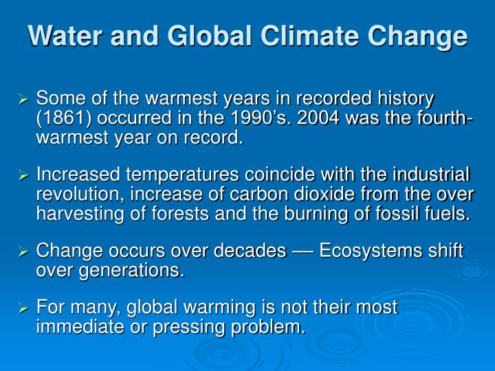 Water and Global Climate Change