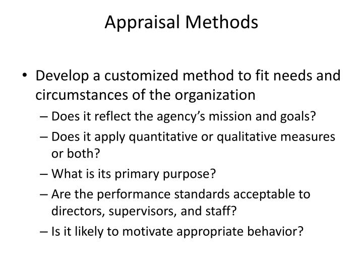 Appraisal Methods