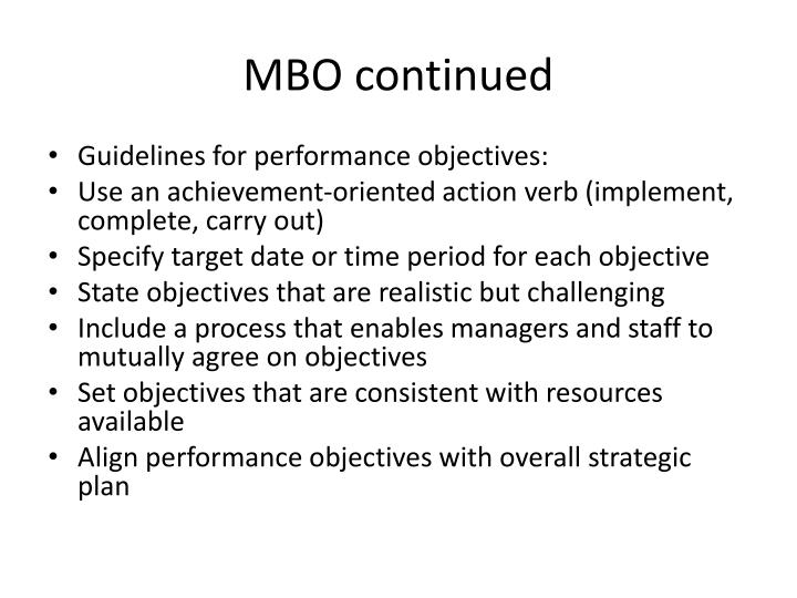 MBO continued