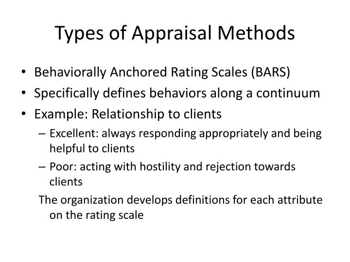 Types of Appraisal Methods