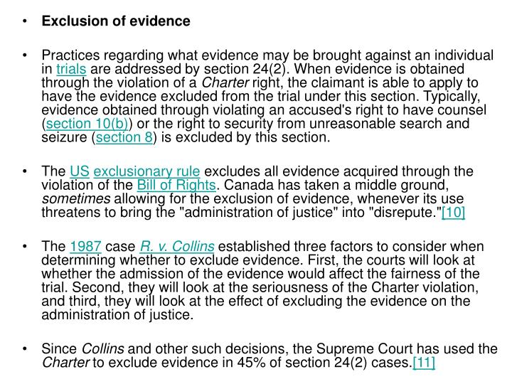 Exclusion of evidence