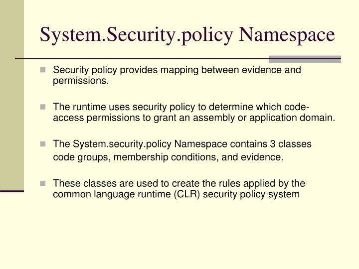 System security policy namespace1