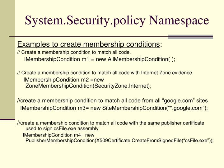 System.Security.policy Namespace