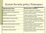 system security policy namespace9