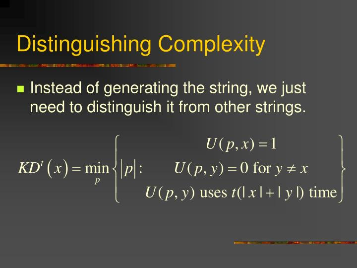 Distinguishing Complexity