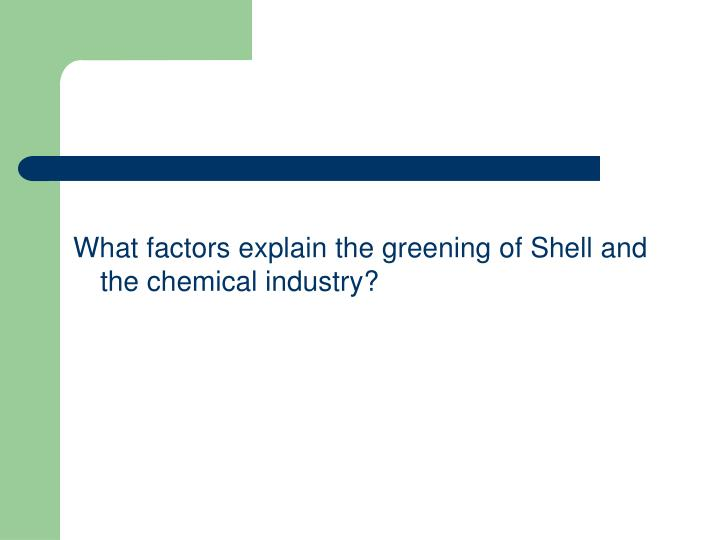 What factors explain the greening of Shell and the chemical industry?