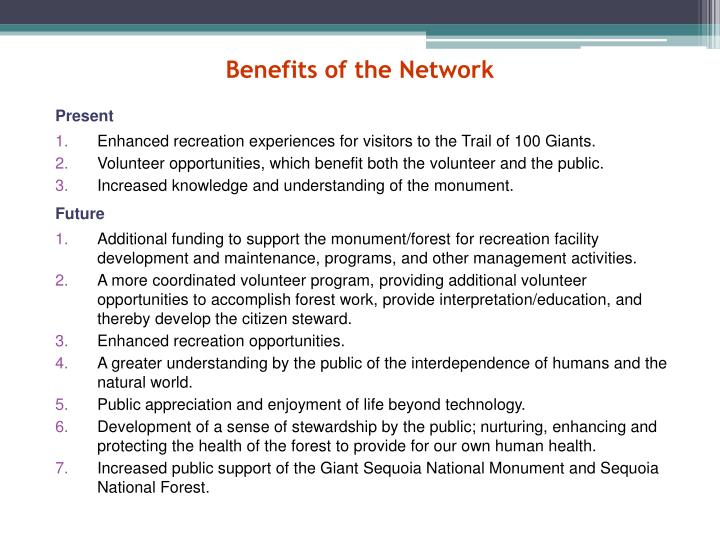Benefits of the Network