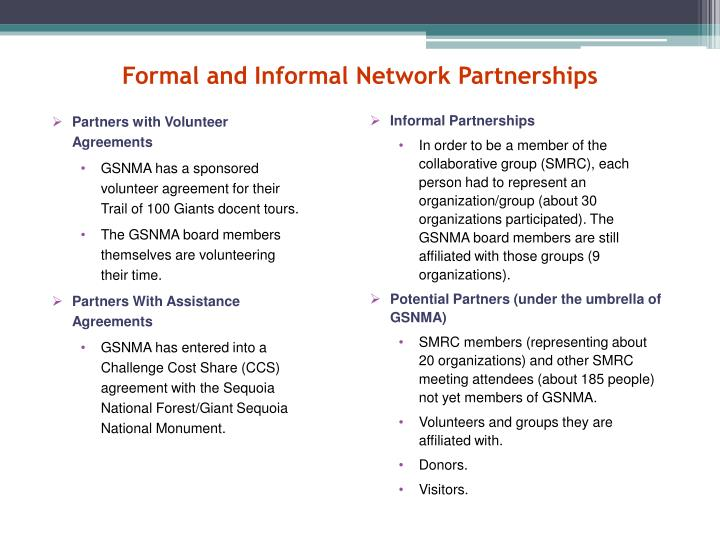 Formal and Informal Network Partnerships
