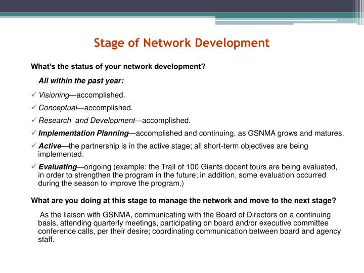 Stage of Network Development