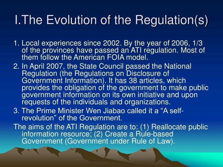 The evolution of the regulation s