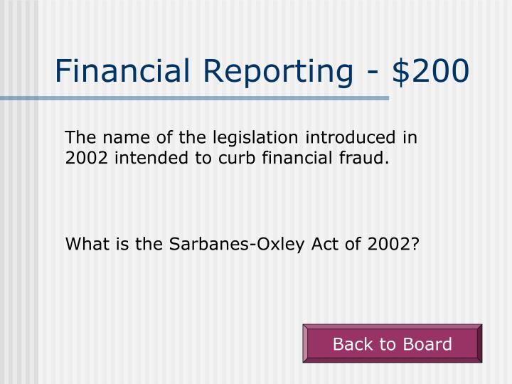 Financial Reporting - $200