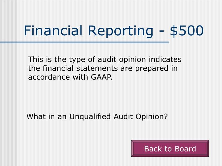 Financial Reporting - $500
