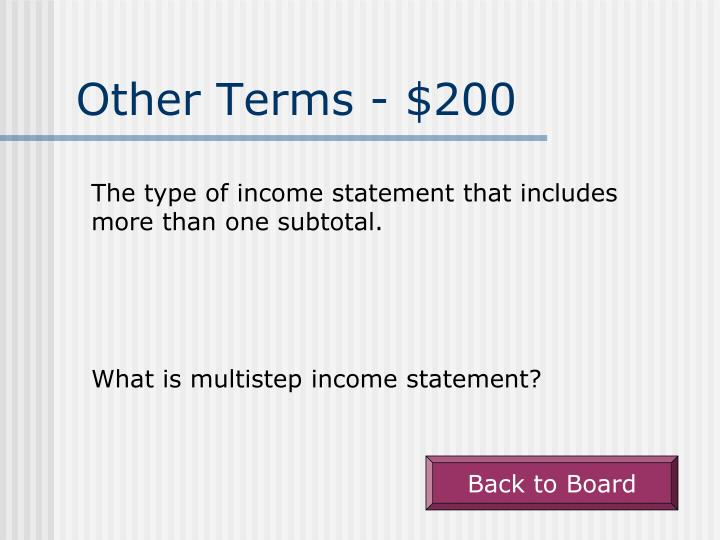 Other Terms - $200
