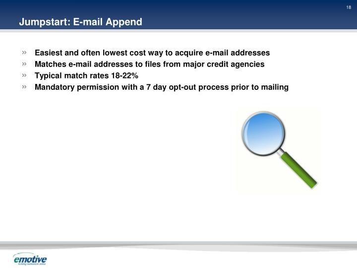 Jumpstart: E-mail Append