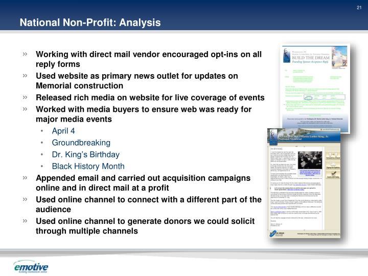 National Non-Profit: Analysis