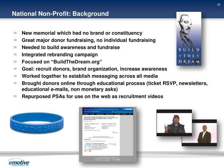 National Non-Profit: Background