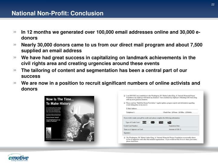 National Non-Profit: Conclusion