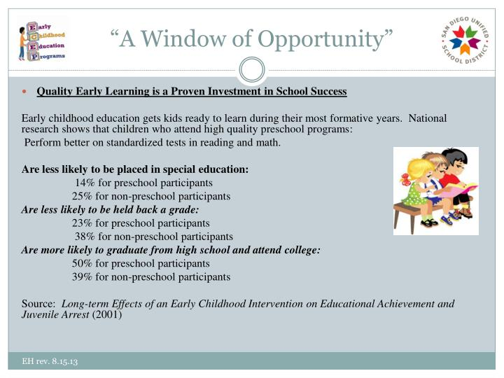 """A Window of Opportunity"""