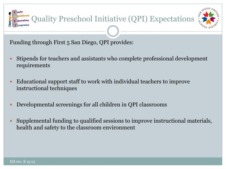 Quality Preschool Initiative (QPI) Expectations