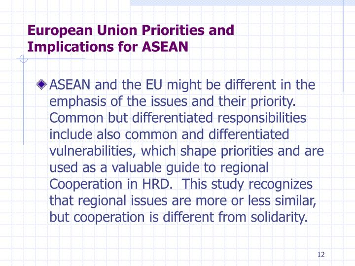 European Union Priorities and Implications for ASEAN