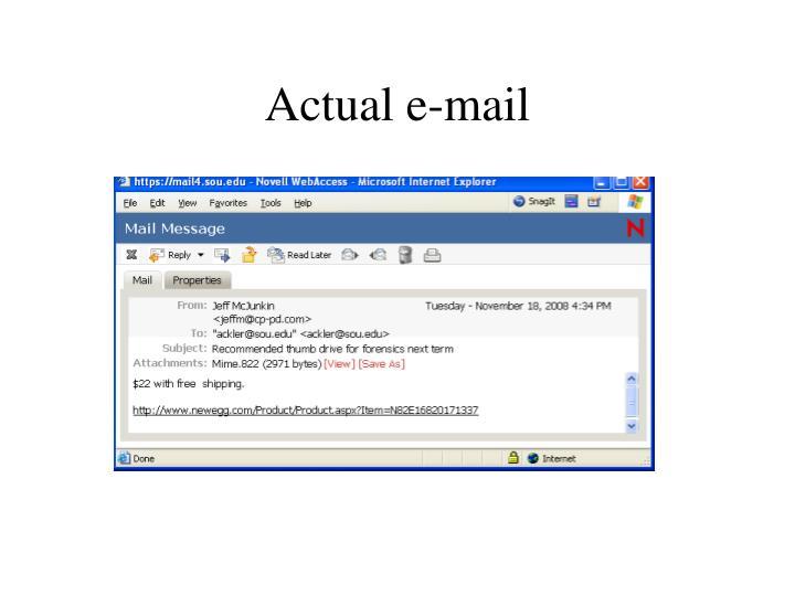 Actual e-mail