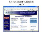 researching ip addresses arin