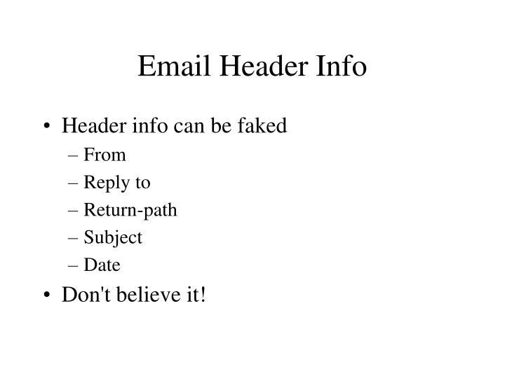 Email Header Info