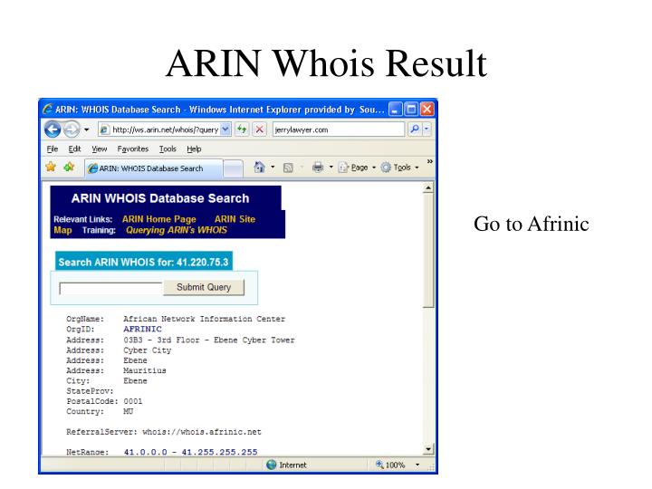 ARIN Whois Result