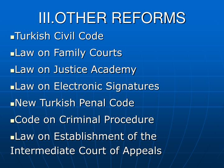III.OTHER REFORMS
