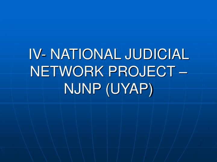 IV- NATIONAL JUDICIAL NETWORK PROJECT