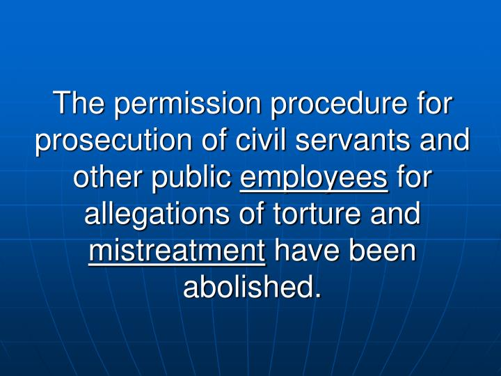 The permission procedure for prosecution of civil servants and other public