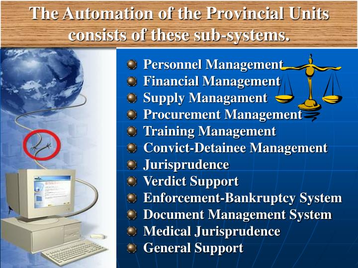 The Automation of the Provincial Units consists of these sub-systems.