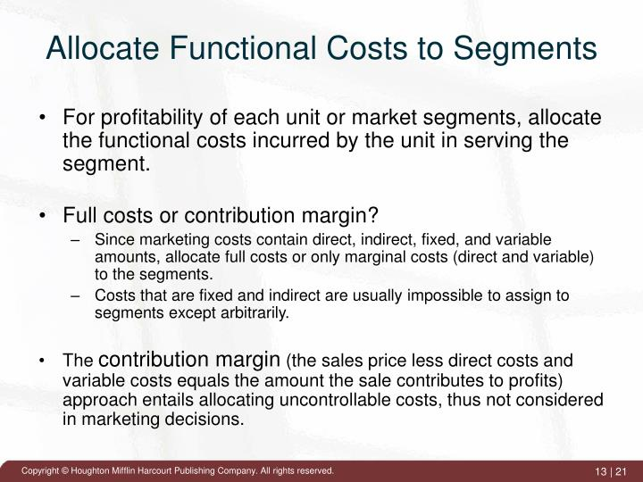 Allocate Functional Costs to Segments