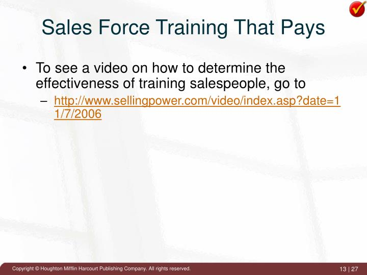 Sales Force Training That Pays