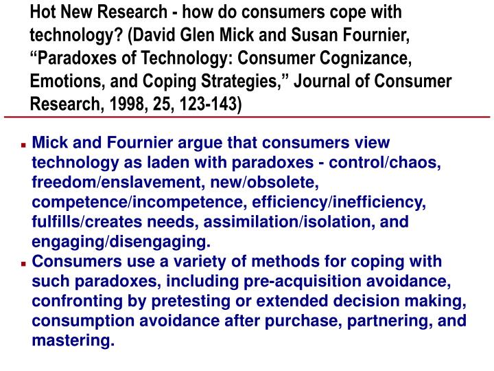 "Hot New Research - how do consumers cope with technology? (David Glen Mick and Susan Fournier, ""Paradoxes of Technology: Consumer Cognizance, Emotions, and Coping Strategies,"" Journal of Consumer Research, 1998, 25, 123-143)"