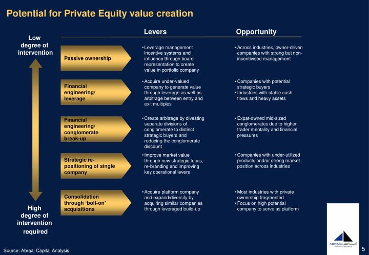 Potential for Private Equity value creation