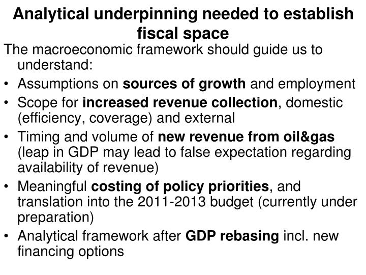 Analytical underpinning needed to establish fiscal space