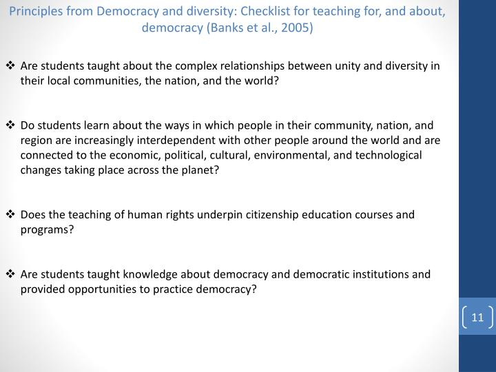 Principles from Democracy and diversity: Checklist for teaching for, and about, democracy (Banks et al., 2005)
