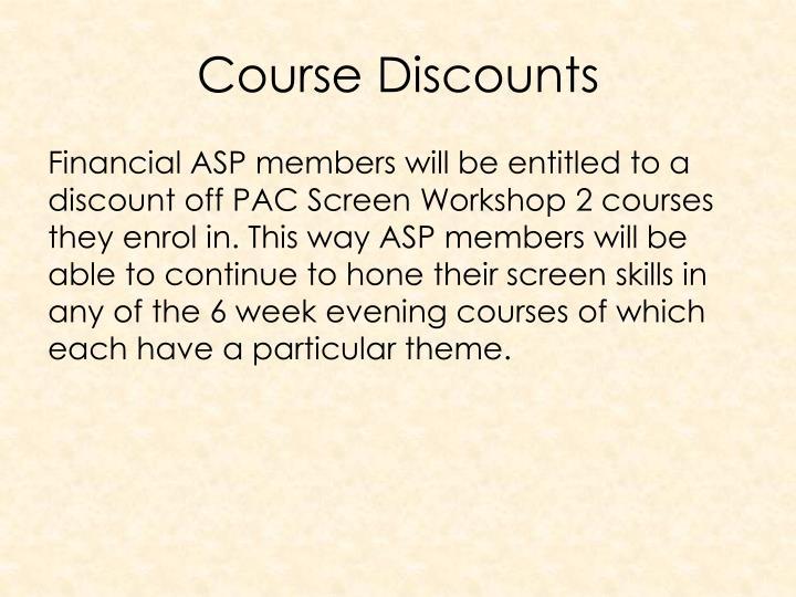 Course Discounts
