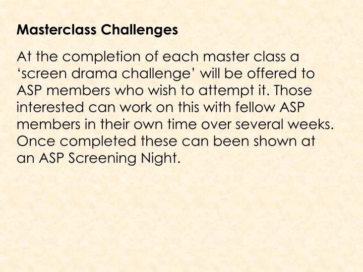 Masterclass Challenges