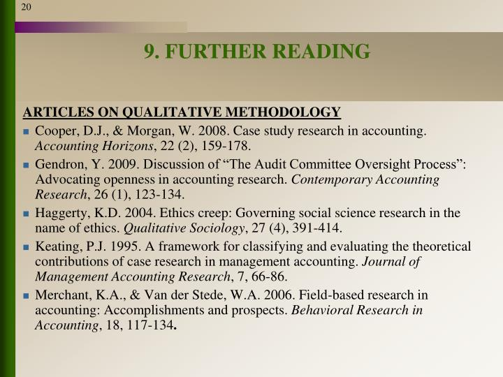 9. FURTHER READING
