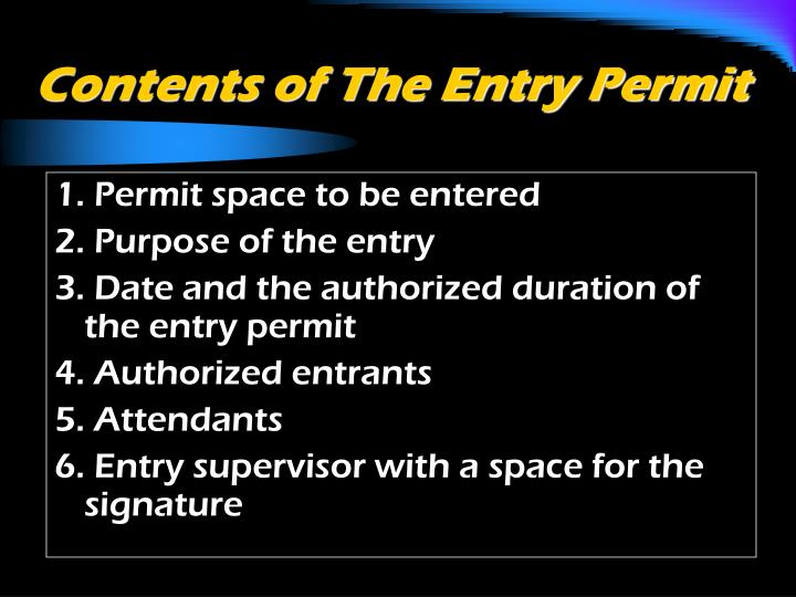 Contents of The Entry Permit
