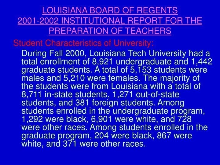 LOUISIANA BOARD OF REGENTS