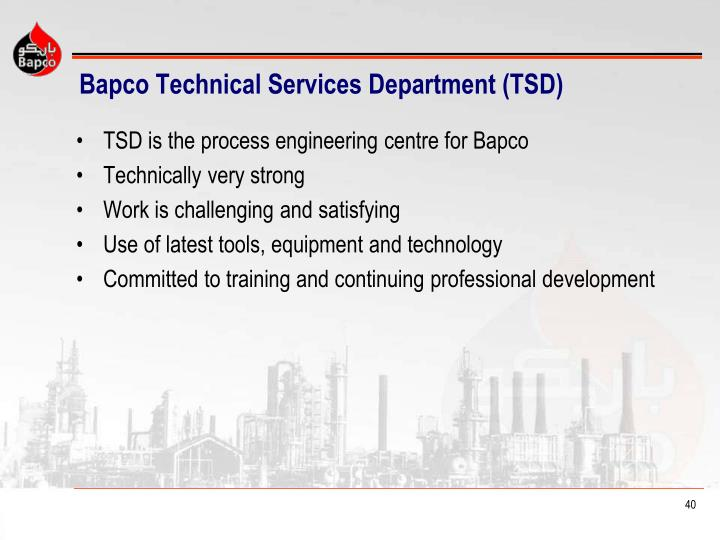 Bapco Technical Services Department (TSD)