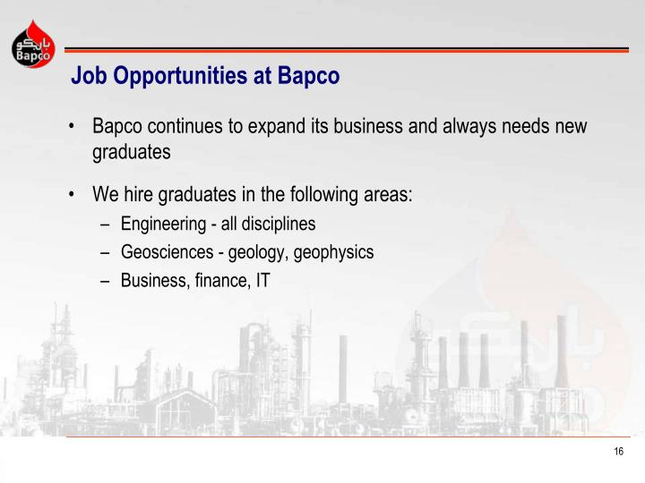 Job Opportunities at Bapco