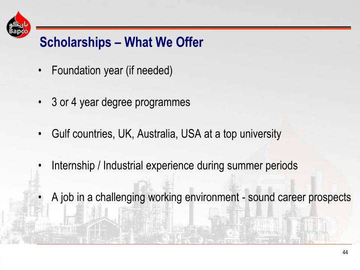 Scholarships – What We Offer