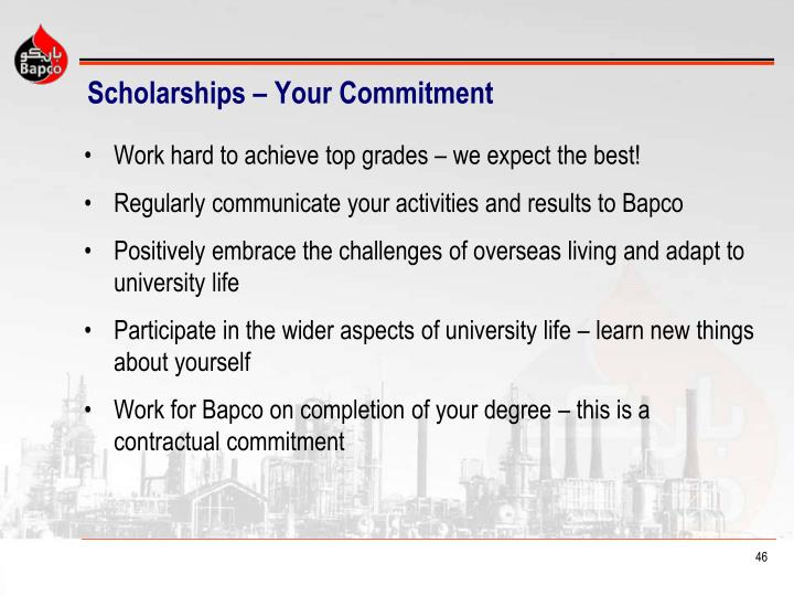 Scholarships – Your Commitment