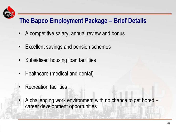 The Bapco Employment Package – Brief Details